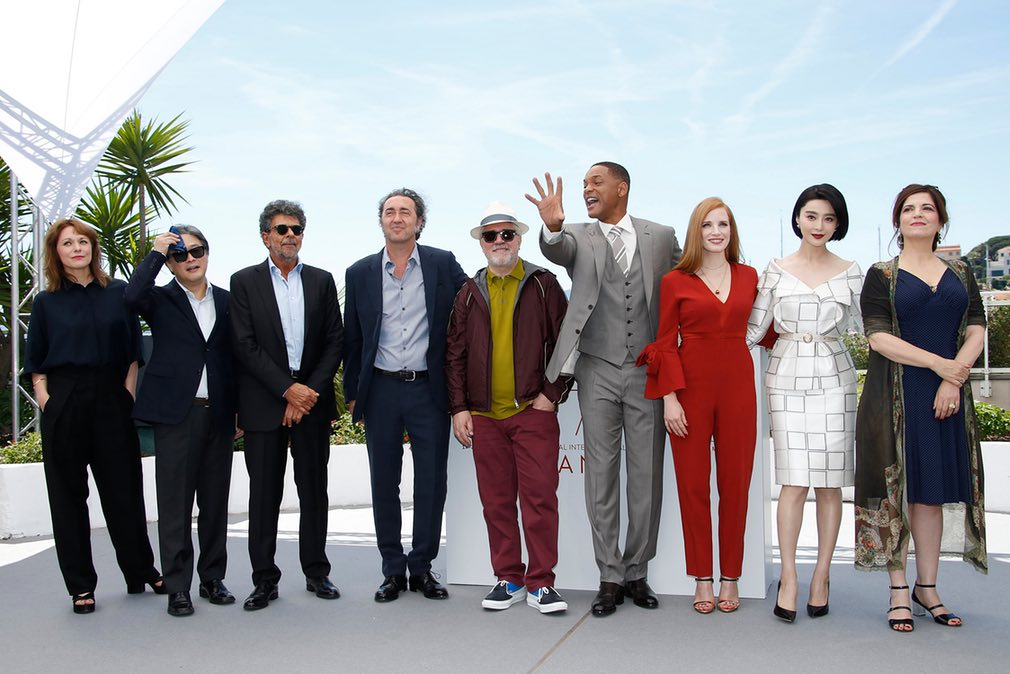 Toni Erdmann director Maren Ade, The Handmaiden director Park Chan-wook, composer Gabriel Yared, The Young Pope director Paolo Sorrentino, jury president Pedro Almodovar, actors Will Smith, Jessica Chastain, Fan Bingbing, and actor-director Agnes Jaoui.